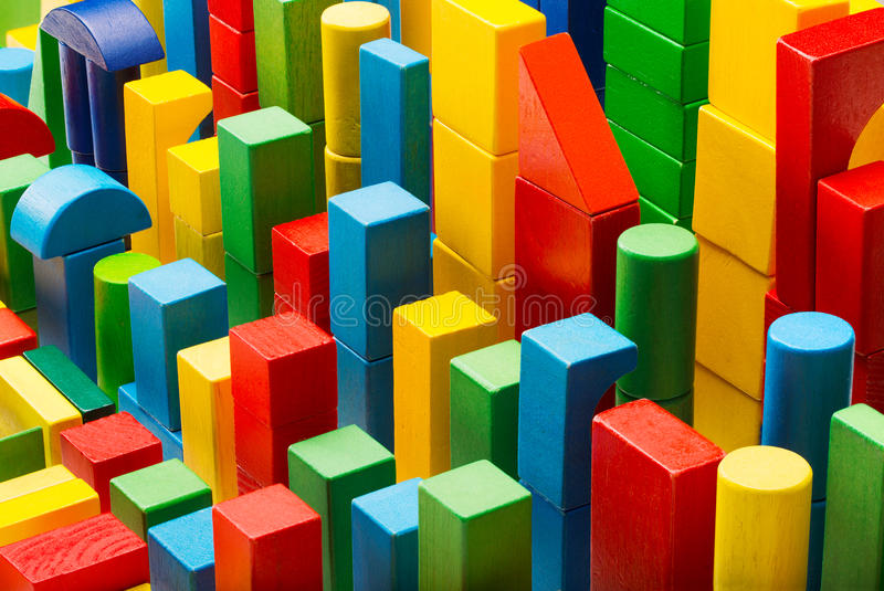 Blocchi Toy Abstract Background, mattoni di costruzione organizzati, bambino C fotografia stock