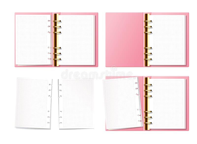 Blocco appunti aperto rosa, elenco puntato, planner, diari con vista sopra mobilio oro Carta con texture di puntini Aperto illustrazione di stock