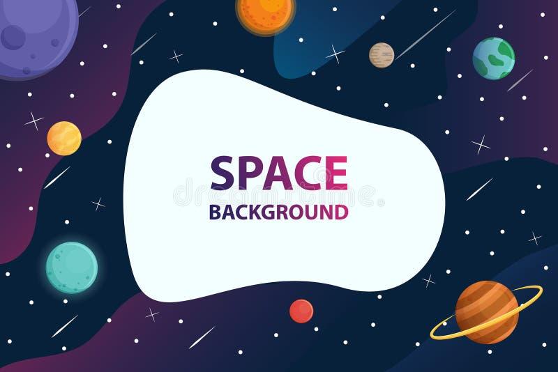 Blocco di testo bianco con il pianeta nel fondo della galassia dello spazio, vettore illustrazione vettoriale