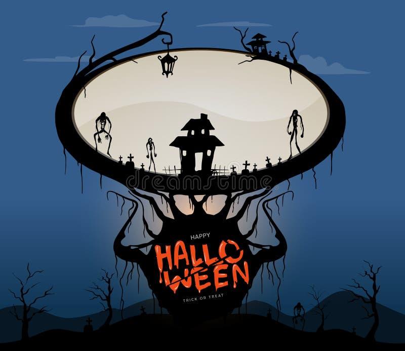Blocco di testo, fondo che frequenta per Halloween SK in bianco e nero fotografia stock libera da diritti