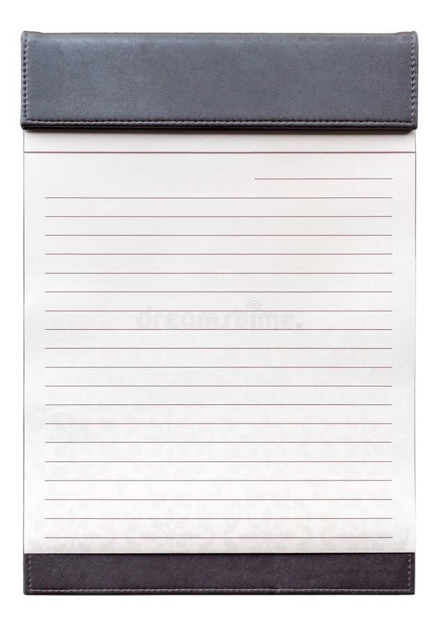 Blocco note in bianco sulla lavagna per appunti marrone per il memorandum fotografia stock libera da diritti