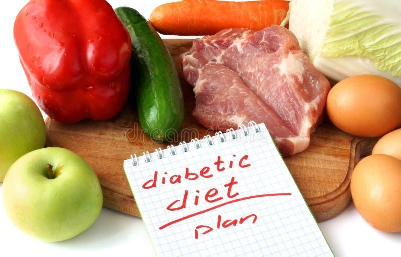 Blocco note con la dieta diabetica e l'alimento biologico crudo fotografia stock libera da diritti