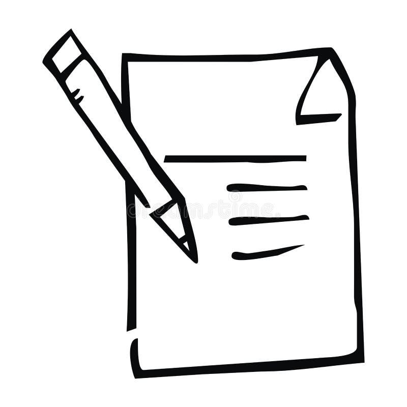 Blocco note, disegno a penna, contorno nero, icona di vettore, schizzo royalty illustrazione gratis
