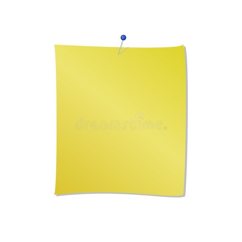 Blocco note giallo con l'illustrazione di vettore allegata perno blu isolata su fondo bianco royalty illustrazione gratis