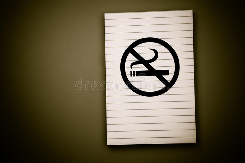 Blocco note non fumatori fotografia stock