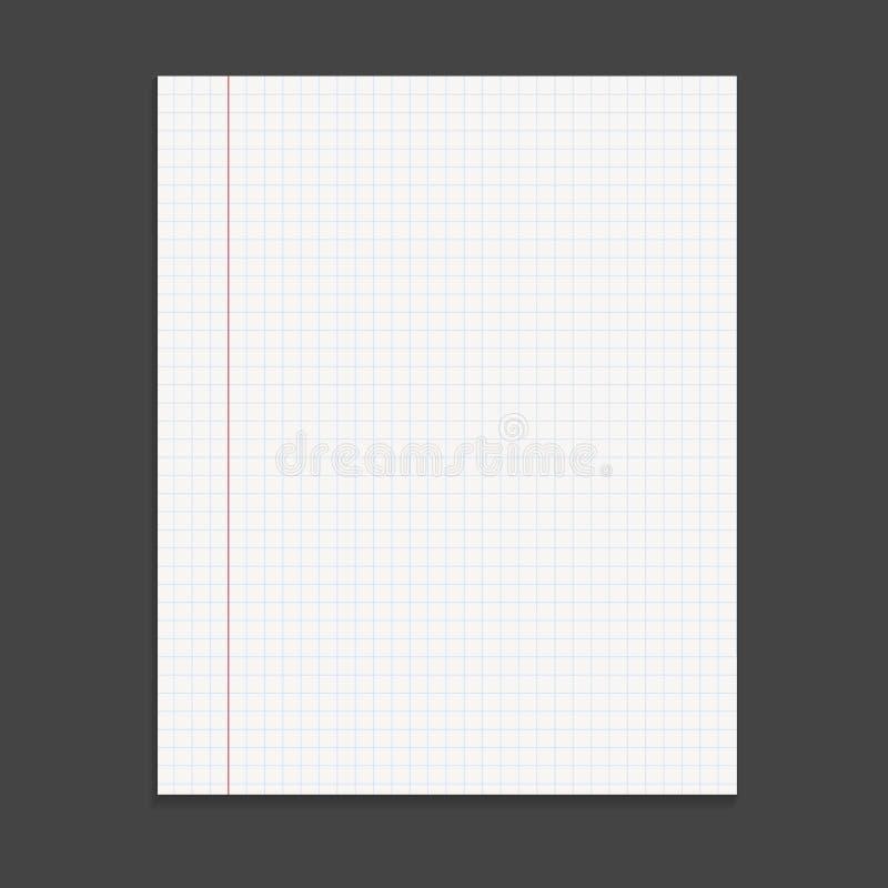 Blocco note realistico del modello con la coclea Progettazione della copertura in bianco Scho illustrazione di stock