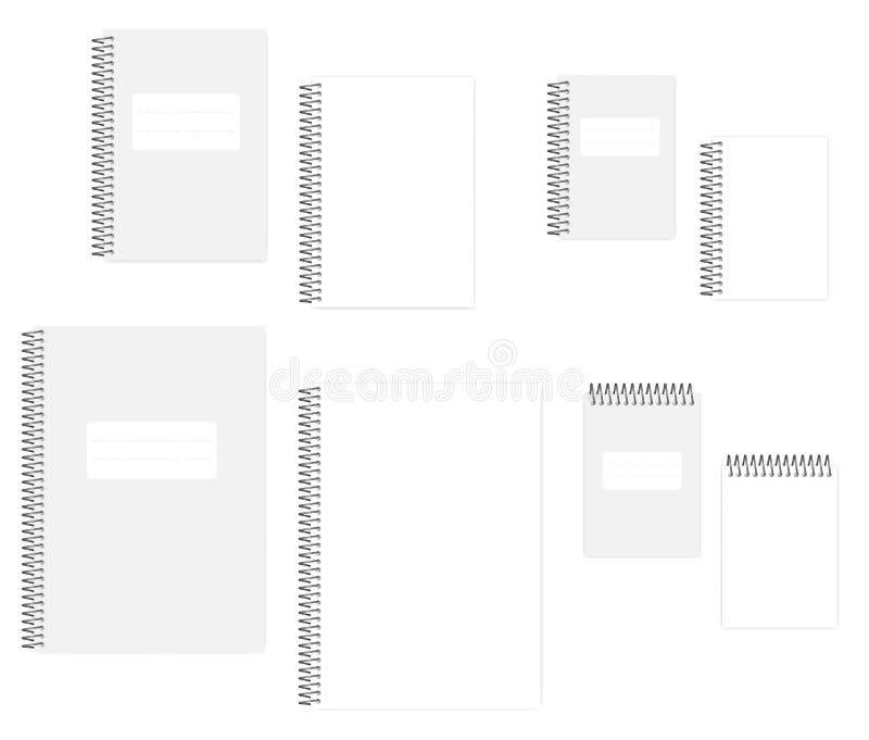 A4, A5, blocco note a spirale in bianco del cavo A6 messo - pagina bianca illustrazione di stock