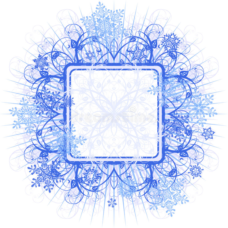 Blocco per grafici & fiocchi di neve blu illustrazione di stock