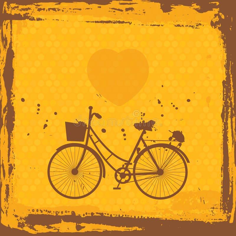 Blocco per grafici astratto del grunge siluetta della bicicletta sul modello arancio del fondo Vettore illustrazione di stock