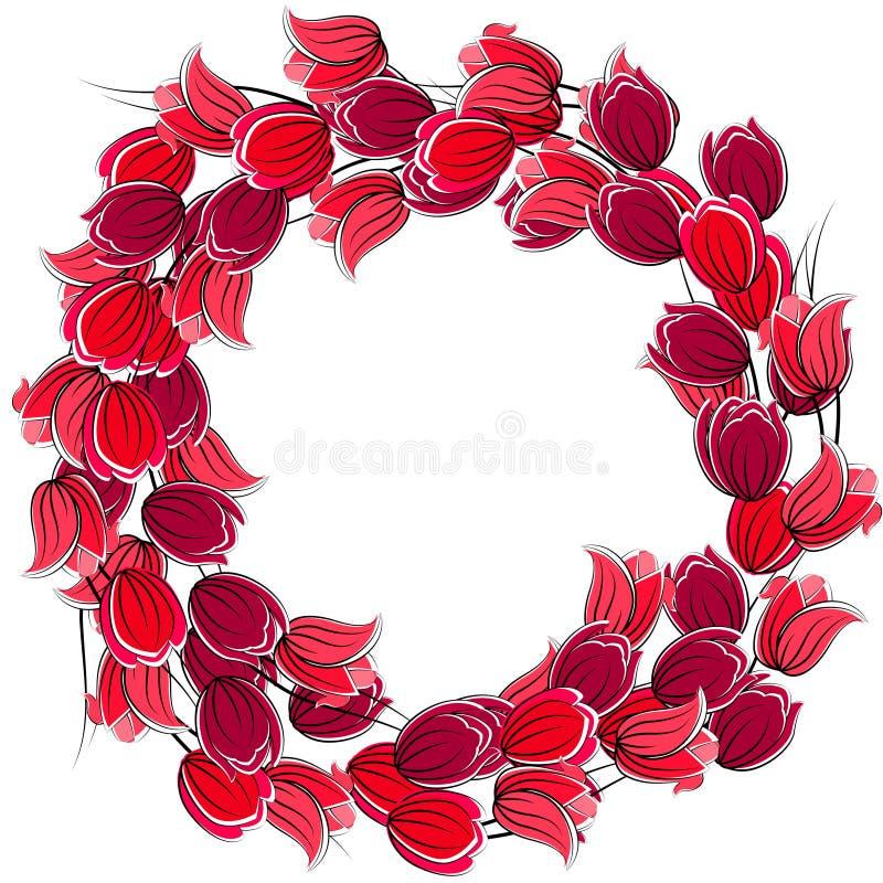 Blocco per grafici in bianco floreale con i tulipani illustrazione vettoriale