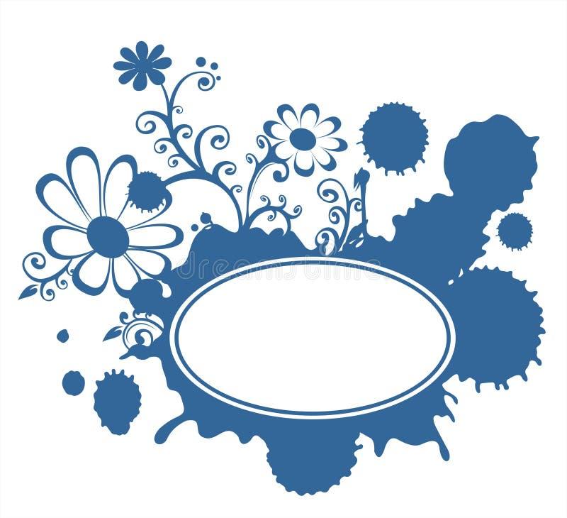Blocco per grafici blu dei fiori e della macchia illustrazione di stock