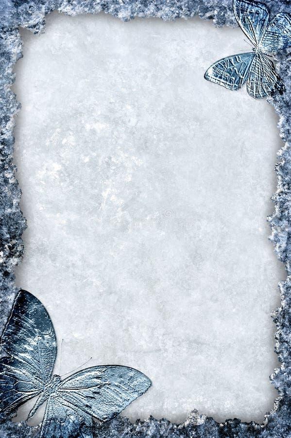 Blocco per grafici blu del ghiaccio con la priorità bassa delle farfalle royalty illustrazione gratis