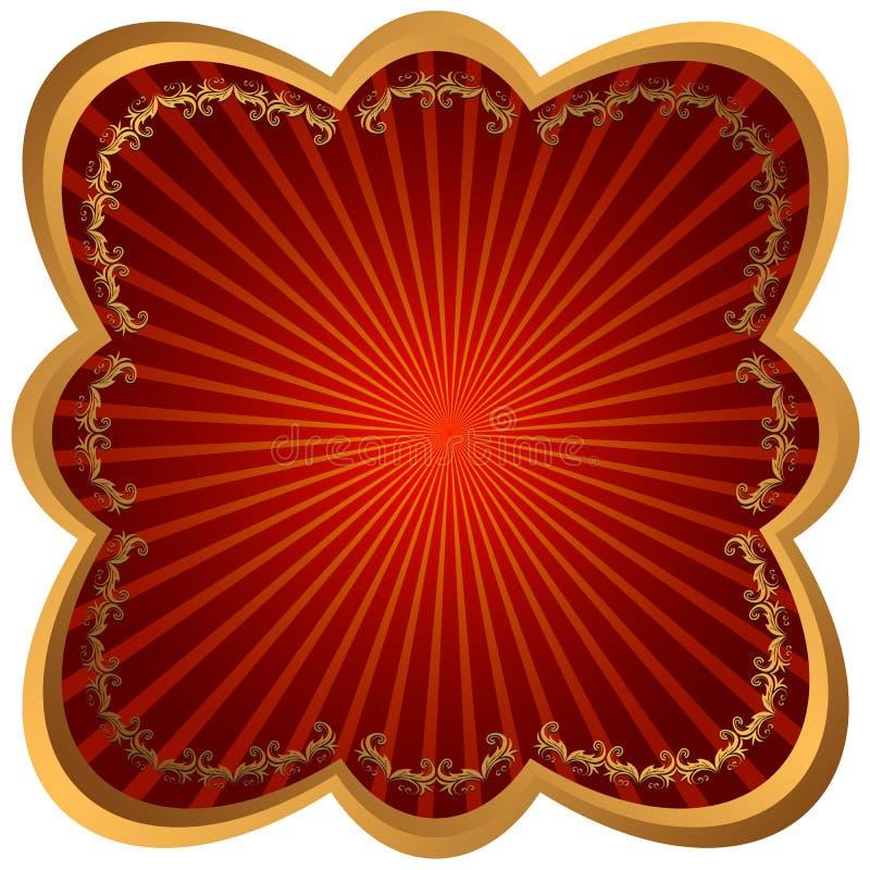 Blocco per grafici Bronze con i raggi rossi royalty illustrazione gratis
