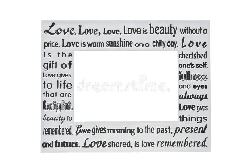 Blocco per grafici d'argento della foto con la poesia di amore fotografia stock libera da diritti