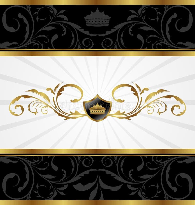 Blocco per grafici decorativo dorato decorato illustrazione di stock