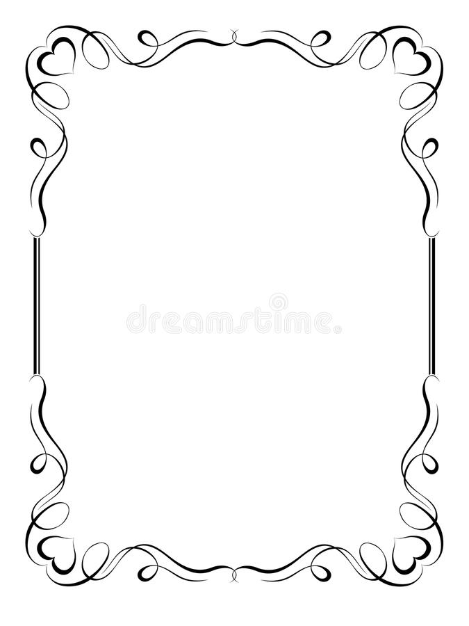 Blocco per grafici decorativo ornamentale di calligrafia con cuore illustrazione vettoriale