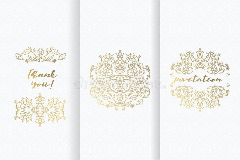 Blocco per grafici decorativo ornamentale di vettore Confine floreale di lusso illustrazione vettoriale