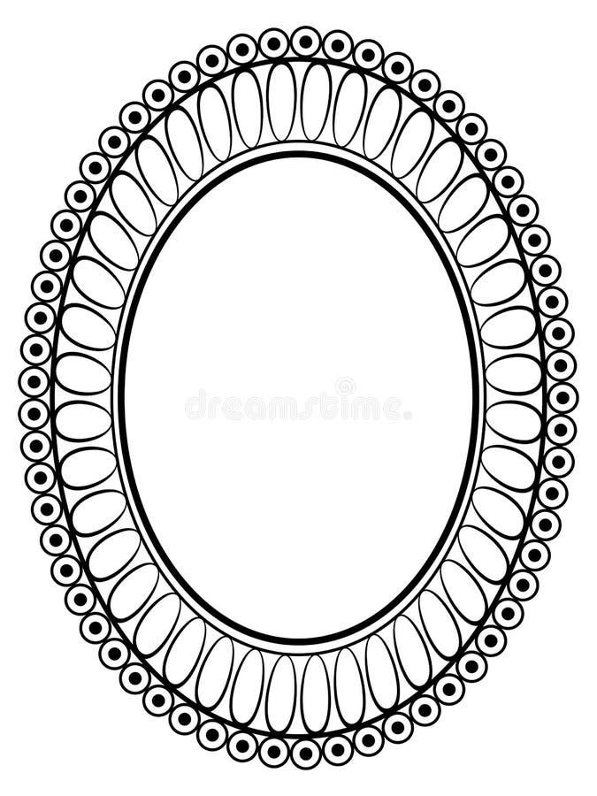 Blocco per grafici decorativo ornamentale ovale illustrazione di stock