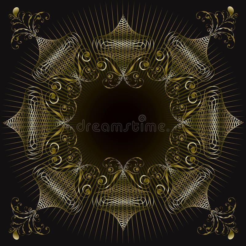 Blocco per grafici decorato di turbinio dell'oro illustrazione di stock