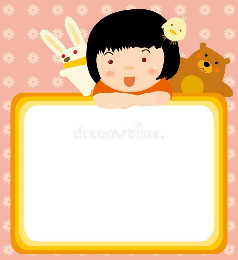 Blocco per grafici degli animali e del bambino illustrazione vettoriale