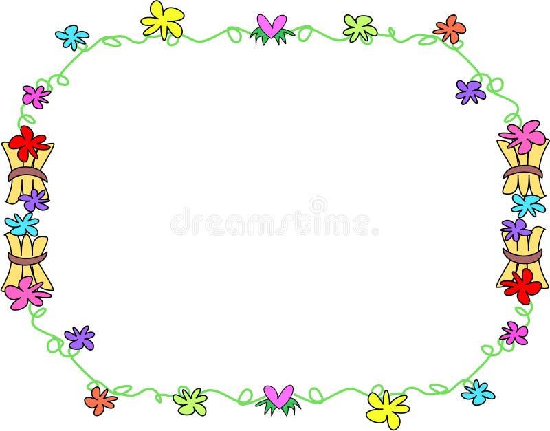 Blocco per grafici dei fiori tropicali e dei gruppi di legno royalty illustrazione gratis