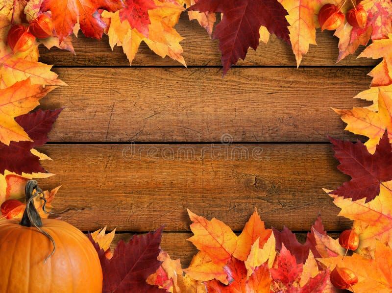 Blocco per grafici dei fogli di autunno su legno fotografia stock