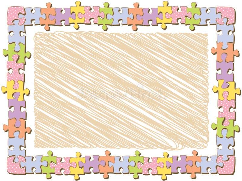 Blocco per grafici del puzzle di rettangolo con i puntini illustrazione di stock