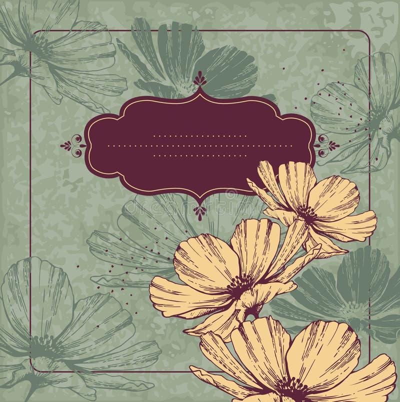 Blocco per grafici dell'annata con i cammei di fioritura royalty illustrazione gratis