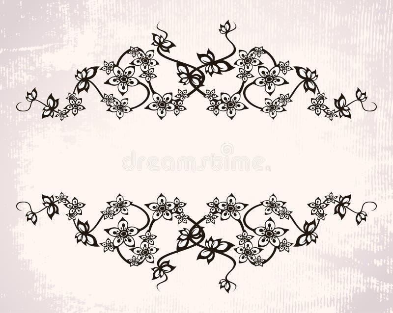 Blocco per grafici dell'annata con i fiori illustrazione vettoriale