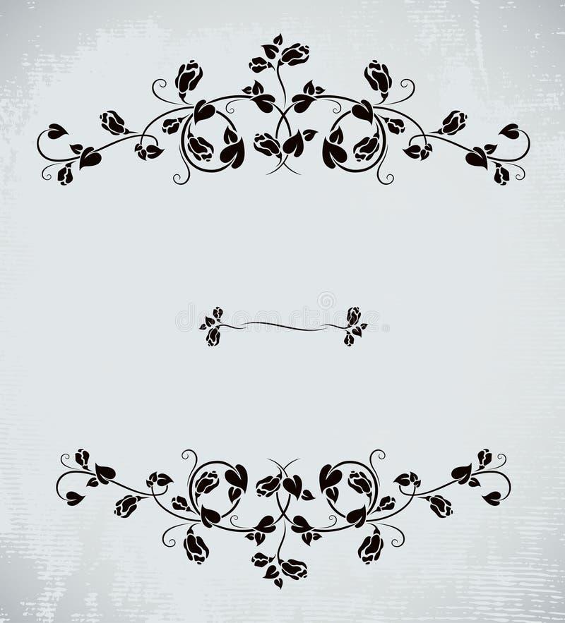 Blocco per grafici dell'annata con le rose illustrazione di stock