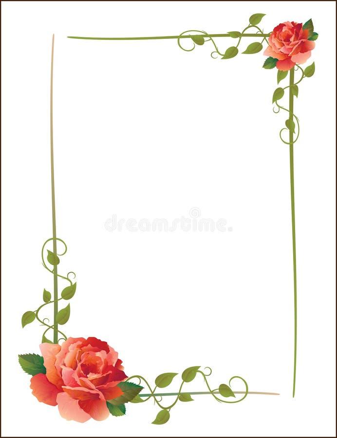 Blocco per grafici dell'annata con le rose illustrazione vettoriale