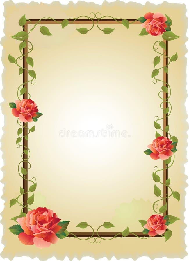 Blocco per grafici dell'annata con le rose royalty illustrazione gratis