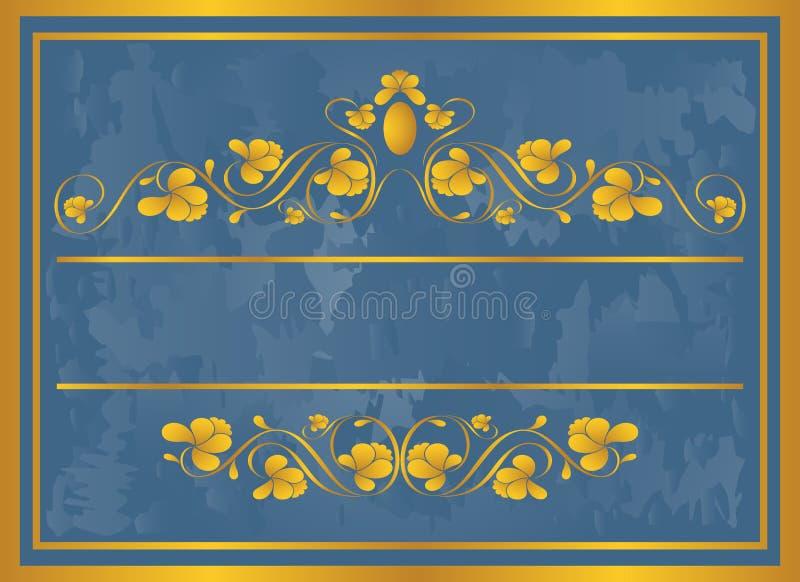 Blocco per grafici dell'annata in oro. illustrazione di stock