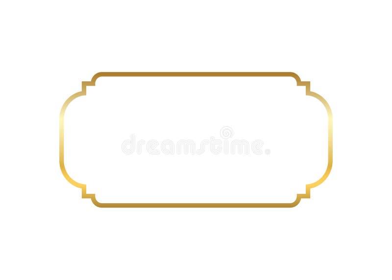 Blocco per grafici dell'oro Bella progettazione dorata semplice Fondo bianco isolato confine decorativo d'annata di stile Arte el illustrazione di stock