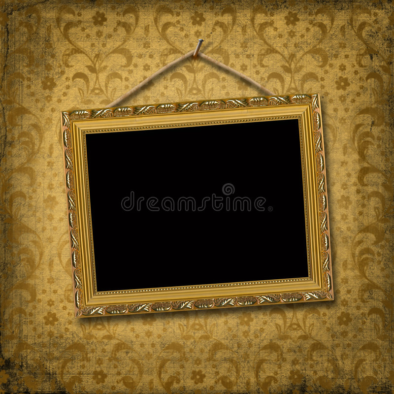 Blocco per grafici dell'oro della maschera con il reticolo del victorian illustrazione di stock