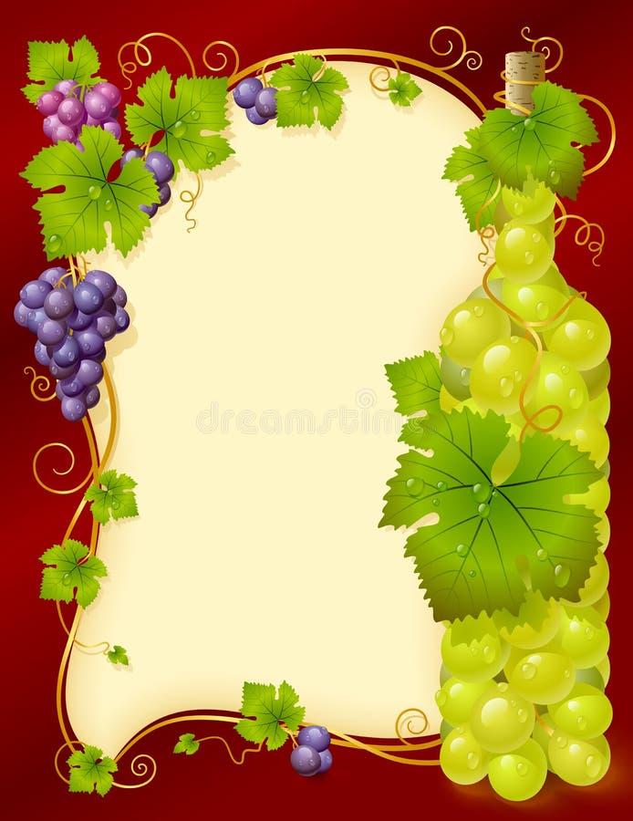 Blocco per grafici dell'uva di vettore con la bottiglia royalty illustrazione gratis