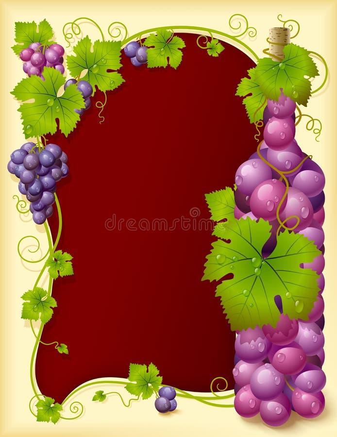 Blocco per grafici dell'uva di vettore con la bottiglia illustrazione vettoriale
