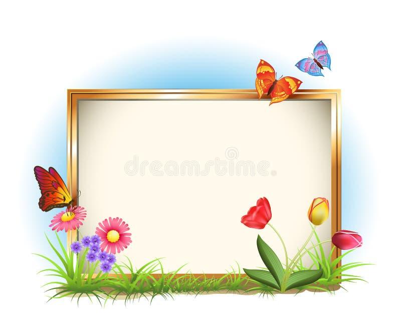 Blocco per grafici della foto con i fiori della sorgente illustrazione vettoriale