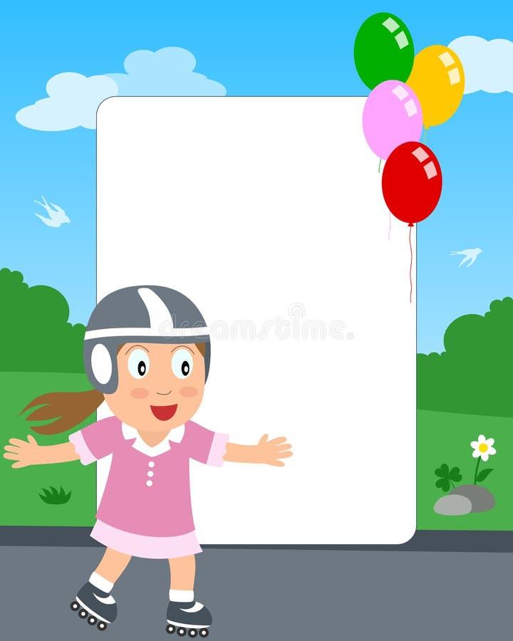 Blocco per grafici della foto della ragazza di Rollerblade royalty illustrazione gratis