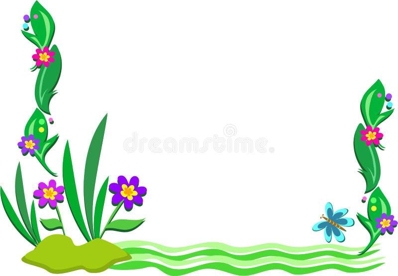 Blocco per grafici della scena esterna delle piante e dello stagno royalty illustrazione gratis