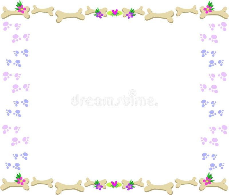 Blocco per grafici delle ossa, delle stampe della zampa, dei fiori e dei cuori royalty illustrazione gratis