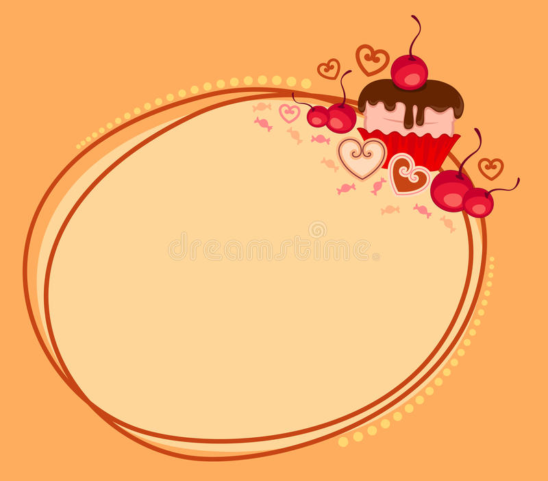 Blocco per grafici di giorno del `s del biglietto di S. Valentino con il bigné dolce illustrazione di stock