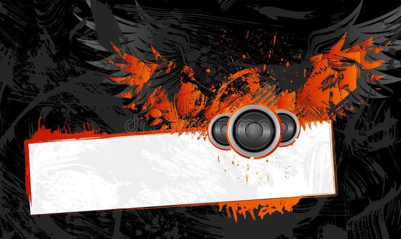 Blocco per grafici di Grunge con le ali illustrazione vettoriale