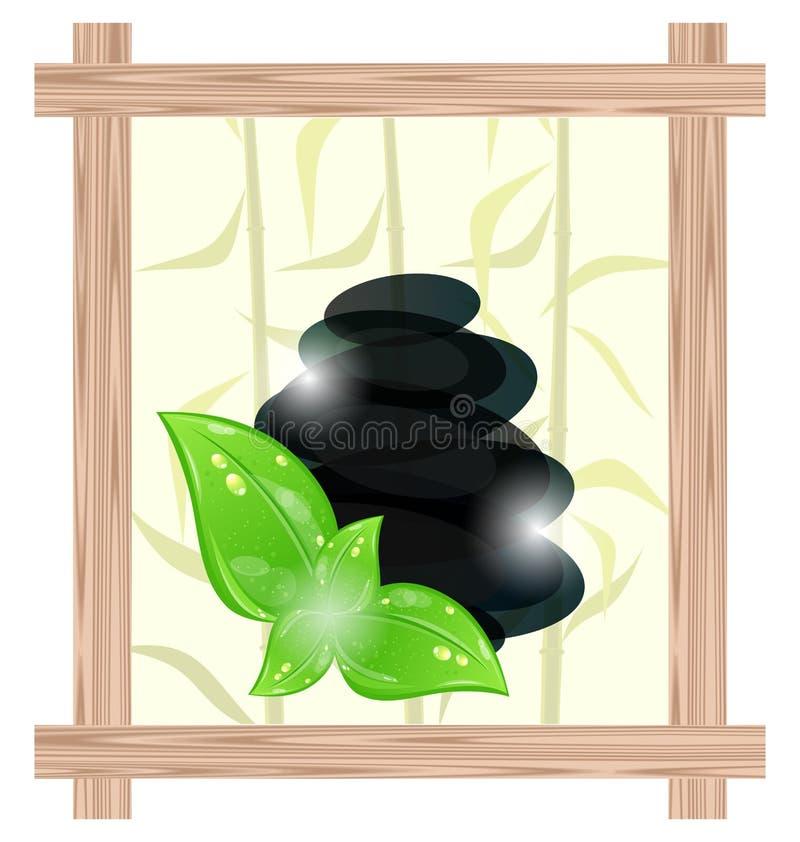 Blocco per grafici di legno con le pietre del cairn ed i fogli di verde royalty illustrazione gratis