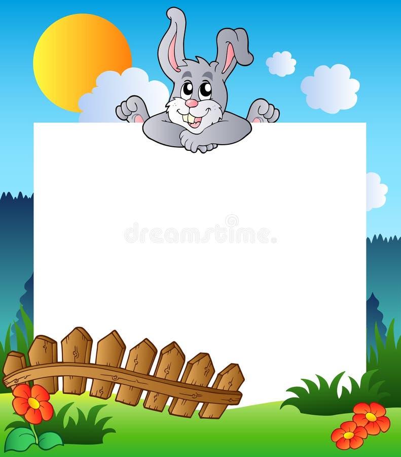 Blocco per grafici di Pasqua con il coniglietto appostantesi royalty illustrazione gratis