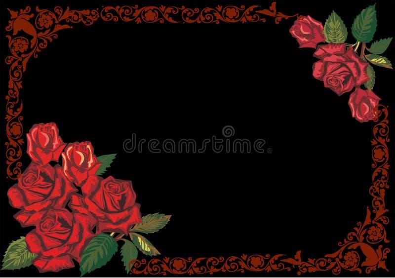 Blocco per grafici di rosa rosso scuro sul nero illustrazione vettoriale