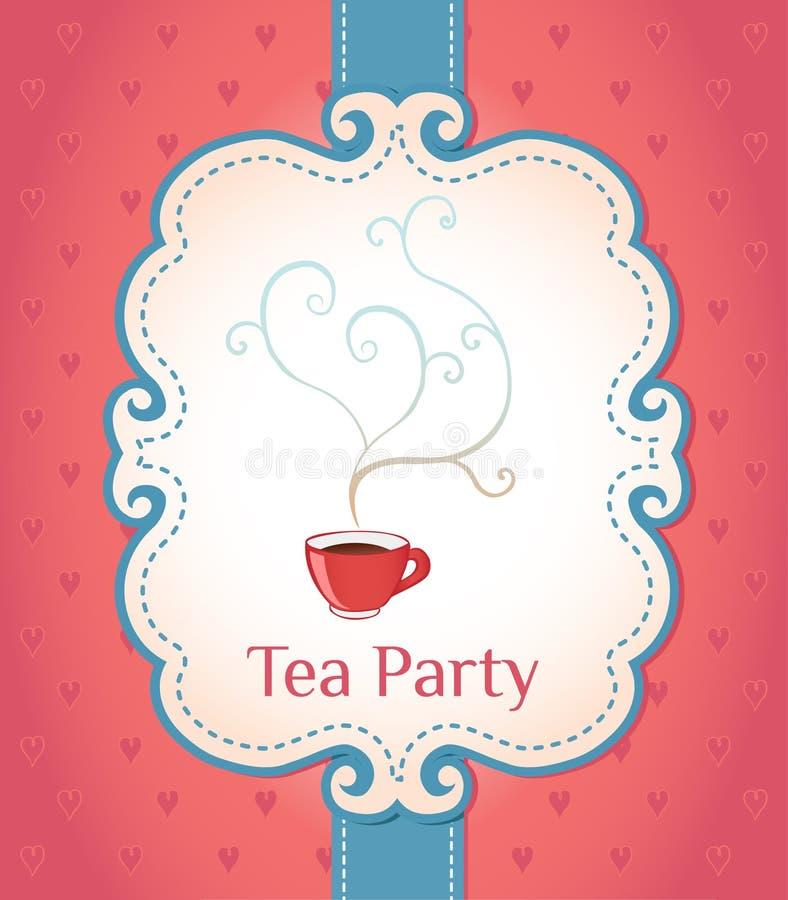 Blocco per grafici di stile dell'annata dell'invito del partito di tè illustrazione di stock