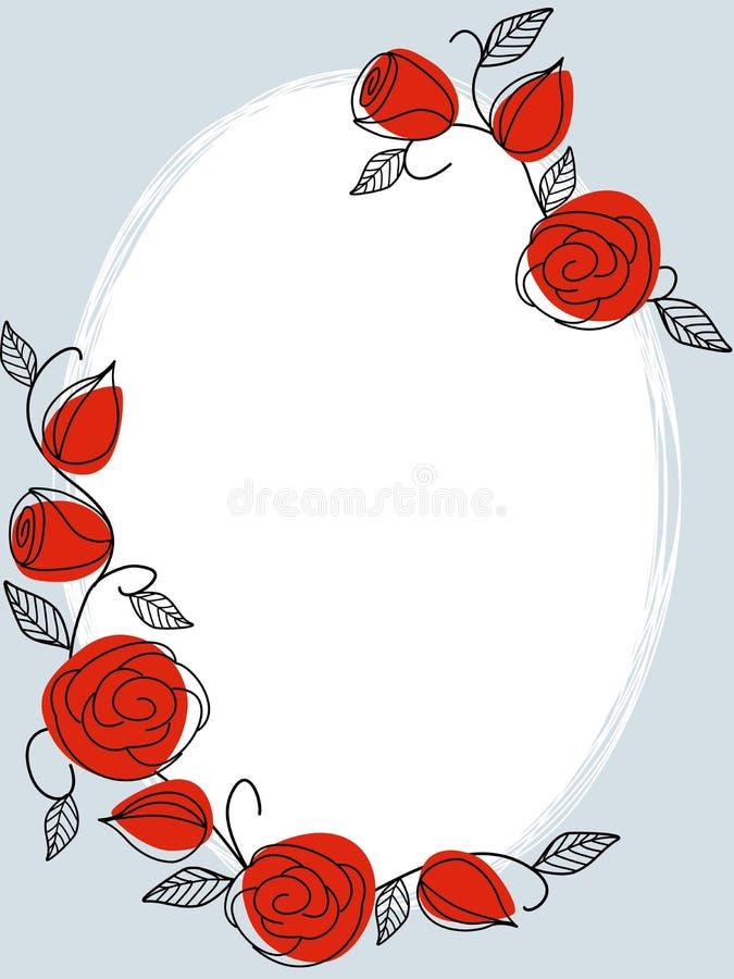 Blocco per grafici disegnato a mano classico con le rose illustrazione vettoriale
