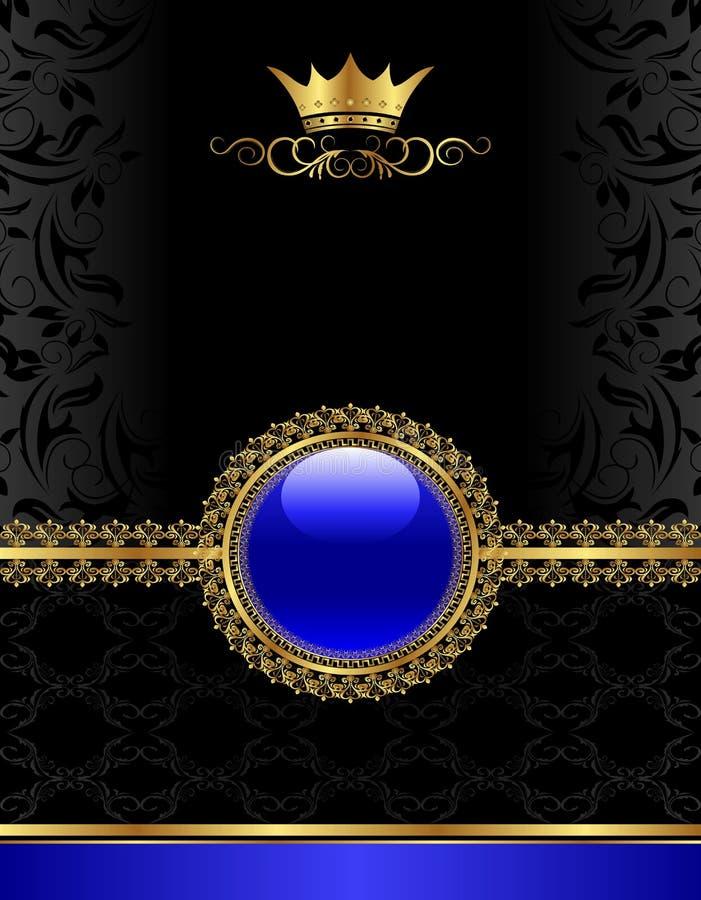 Blocco per grafici dorato dell'annata con il medaglione floreale illustrazione di stock