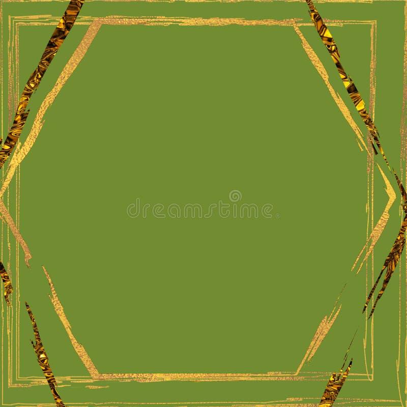 Blocco per grafici dorato di lusso Tema dell'ornamento di nozze Fondo di progettazione dell'invito di nozze Carta d'annata di sti illustrazione vettoriale